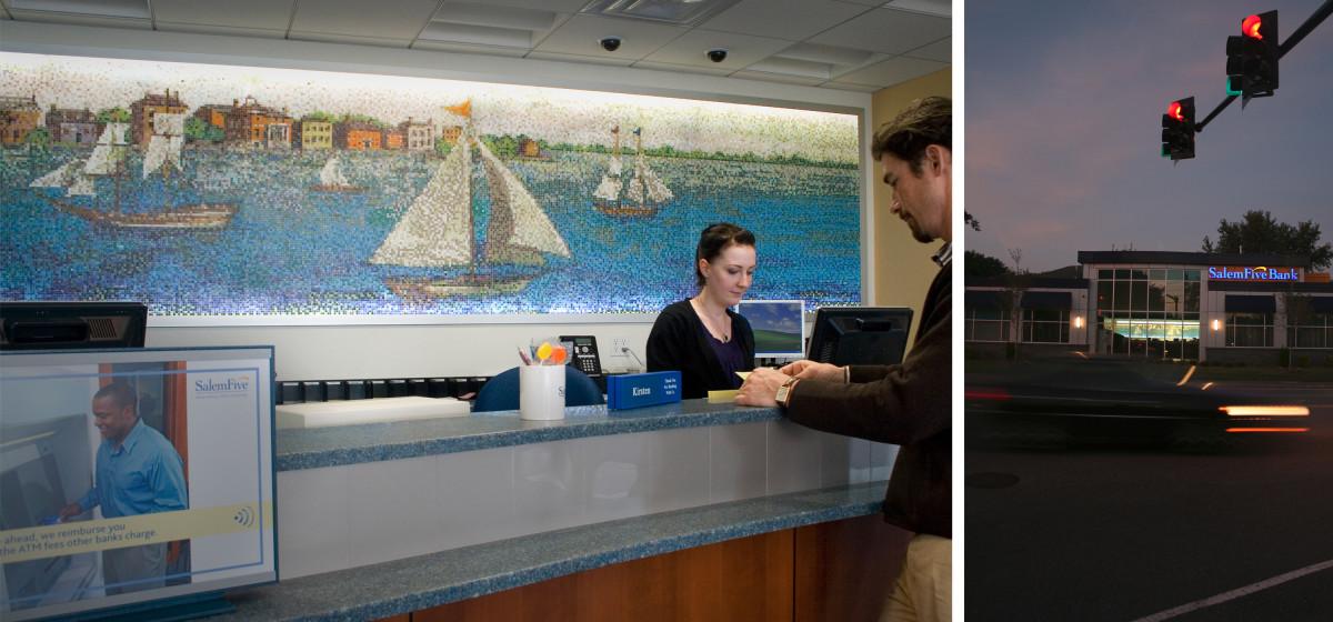 Salem Five Bank ship harbor tile mosaic mural art sign