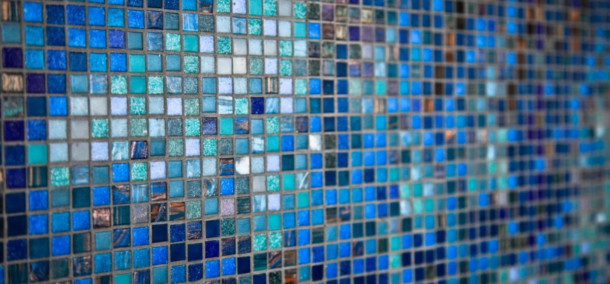 Legal Sea Foods custom abstract blue tile mosaic
