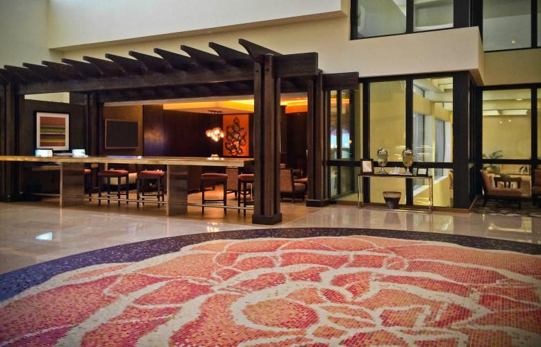 Hilton Costa Mesa Floral Circle Floor Pendant Mosaic Artaic