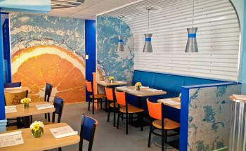Restaurant tile designs artaic for Crossing the shallows tile mural