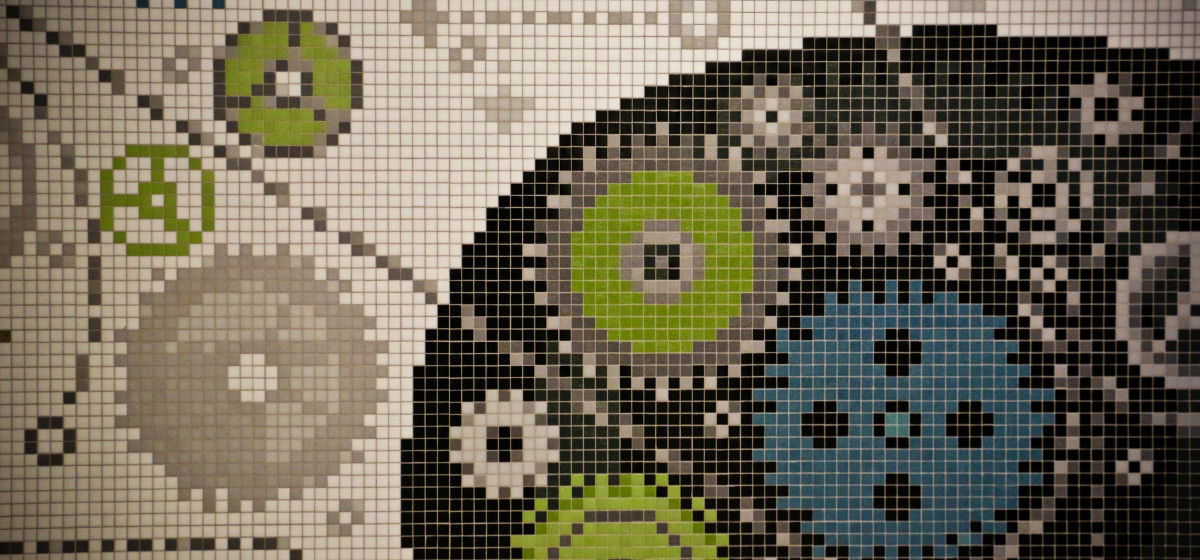 Masschallenge gears durable office lobby mural artaic for Custom mosaic tile mural