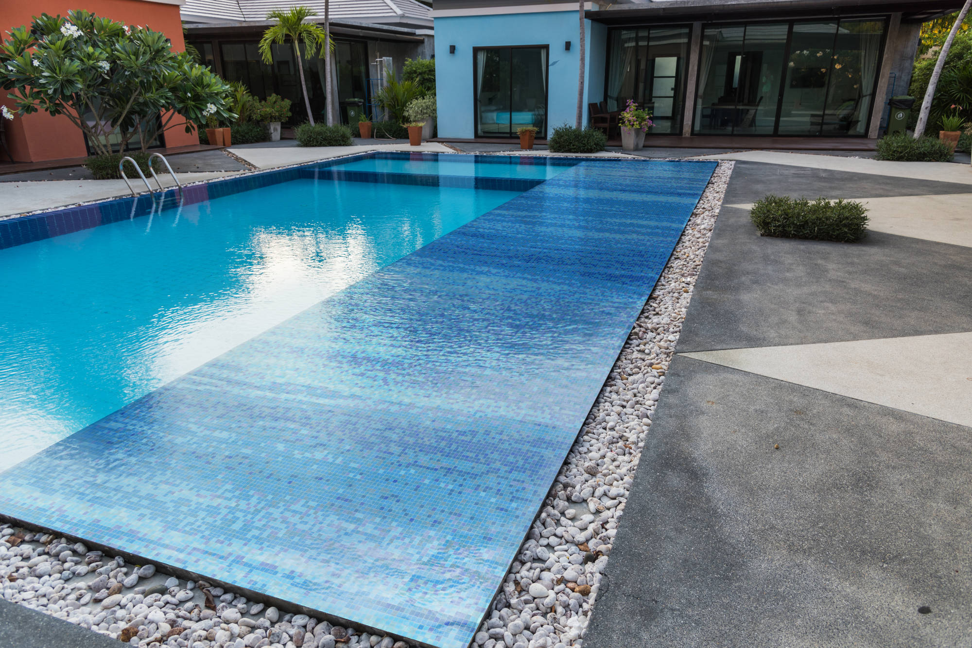 Waterflow lake pool tile mosaic