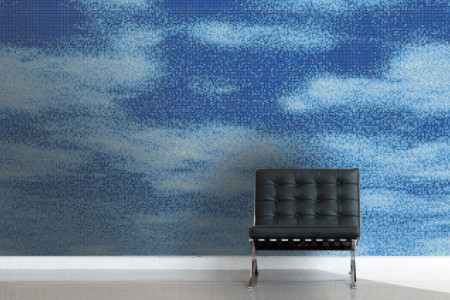 Blue Sky Contemporary Artistic Mosaic installation by Artaic