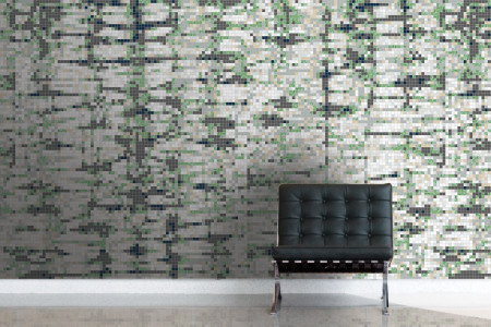 Green Snake Skin Contemporary Textural Mosaic installation by Artaic