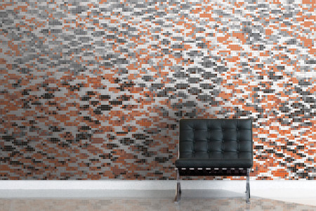 Orange Snake Skin Contemporary Textural Mosaic installation by Artaic