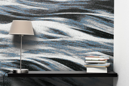 Blue waves Contemporary Artistic Mosaic installation by Artaic