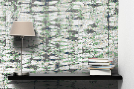 Green Snake Skin Contemporary Textural Mosaic installation by Artaic