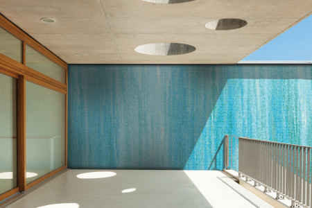 Blue Waterflow Contemporary Artistic Mosaic installation by Artaic