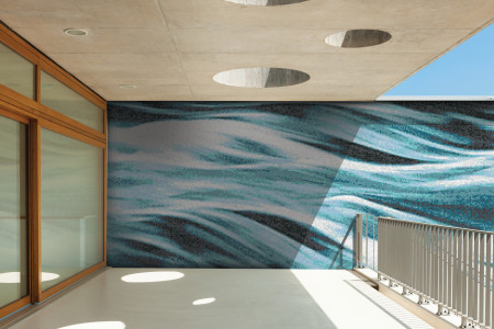 Turquoise waves Contemporary Artistic Mosaic installation by Artaic