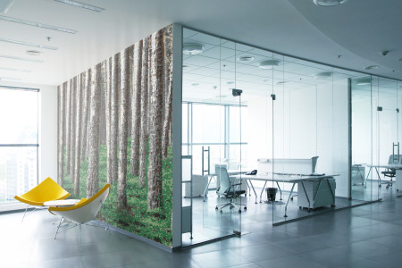 Green Evergreen Forest Contemporary Photorealistic Mosaic installation by Artaic