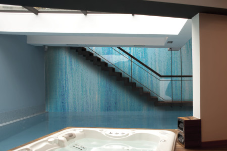 Blue water Contemporary Artistic Mosaic installation by Artaic