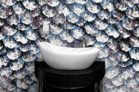 Blue Fish Scales Contemporary Photorealistic Mosaic installation by Artaic