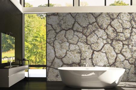 Tan Cracked Earth Contemporary Textural Mosaic installation by Artaic