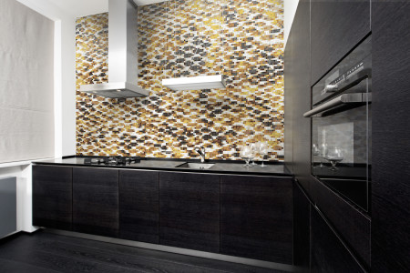 Gold Snake Skin Contemporary Textural Mosaic installation by Artaic