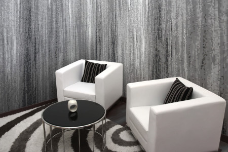 Grey Waterflow Contemporary Artistic Mosaic installation by Artaic