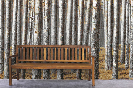 Tan Evergreen Forest Contemporary Photorealistic Mosaic installation by Artaic