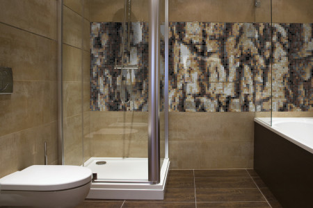 Tan Pine Bark Contemporary Textural Mosaic installation by Artaic