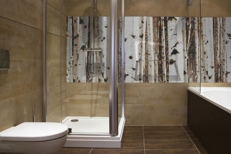 Tan Birch Trees Contemporary Photorealistic Mosaic installation by Artaic