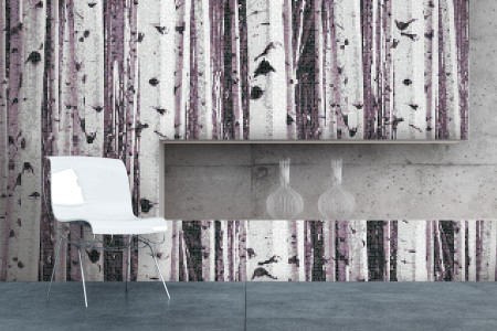 Purple Birch Trees Contemporary Photorealistic Mosaic installation by Artaic