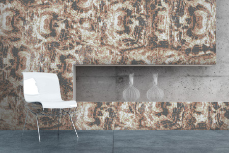 Tan Tortoise Shell Contemporary Textural Mosaic installation by Artaic