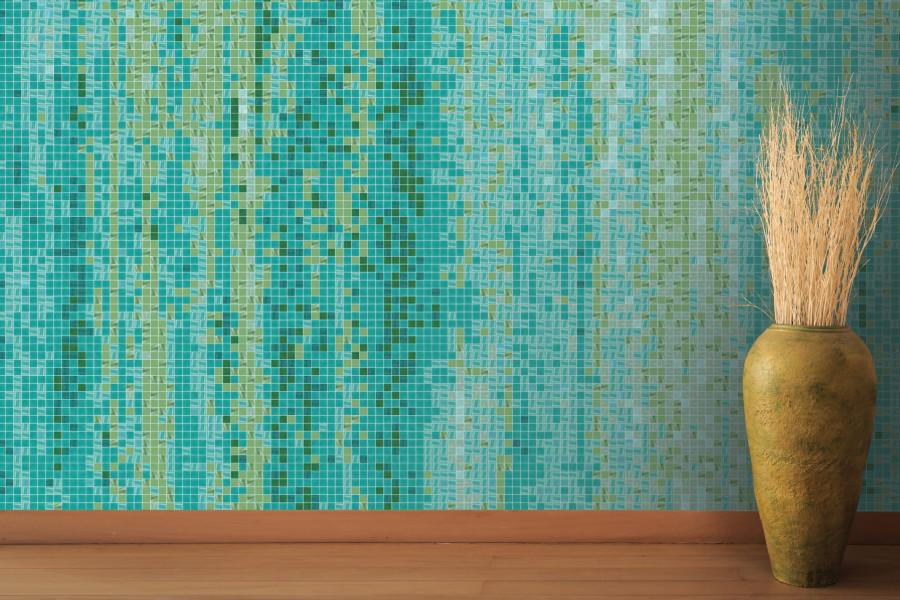 Green water tile pattern waterflow everglade by artaic for Waterfall tile design