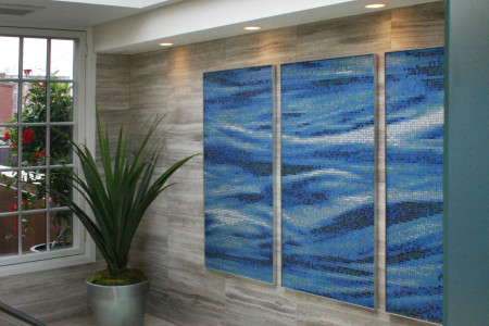Blue waves Contemporary Photorealistic Mosaic installation by Artaic