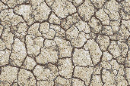 Tan Cracked Earth Contemporary Textural Mosaic by Artaic