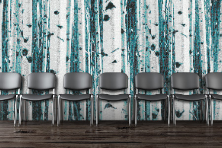 Turquoise Birch Trees Contemporary Photorealistic Mosaic installation by Artaic