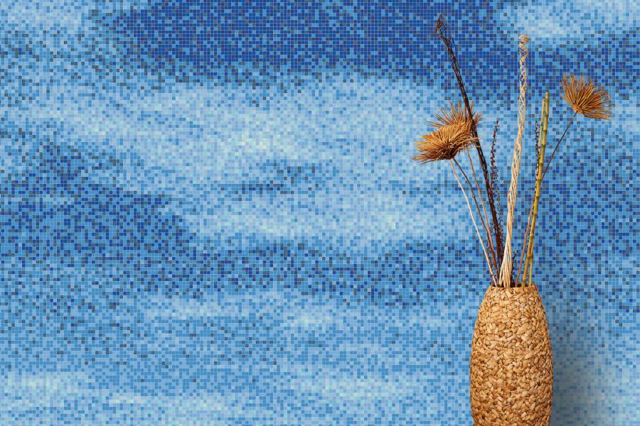 Blue Sky Contemporary Artistic Mosaic Installation By Artaic