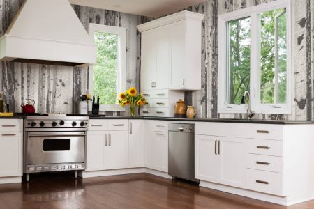 aspen mosaic tile backsplash in modern kitchen