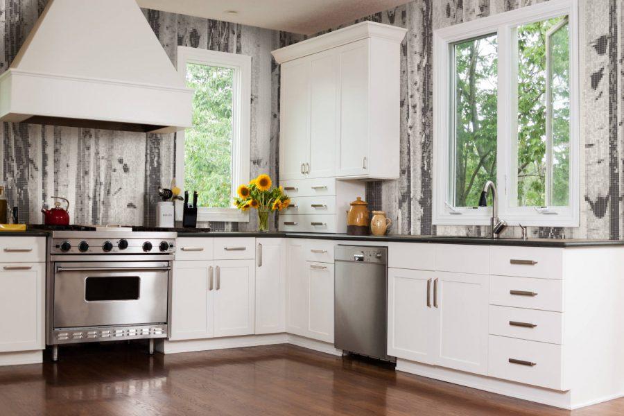 aspen grey birch kitchen cabinets instock | Grey Birch Trees Tile Pattern | Aspen Titanium by ARTAIC