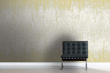 Yellow Waterfall Contemporary Abstract Mosaic installation by Artaic