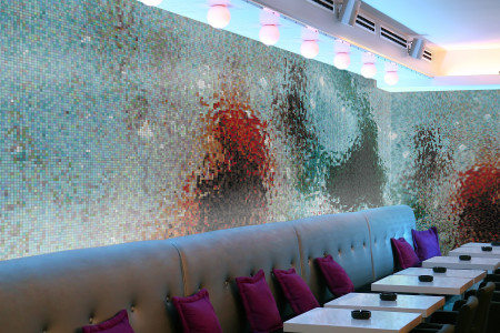 water Contemporary Abstract Mosaic installation by Artaic