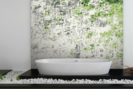 Green droplets Contemporary Abstract Mosaic installation by Artaic