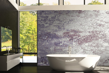 Purple landscape Contemporary Abstract Mosaic installation by Artaic