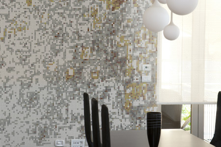 Brown droplets Contemporary Abstract Mosaic installation by Artaic