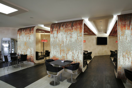 Brown Waterfall Contemporary Abstract Mosaic installation by Artaic
