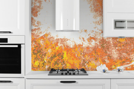 Orange eddies Contemporary Abstract Mosaic installation by Artaic