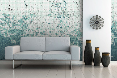 Turquoise Waves Contemporary Abstract Mosaic installation by Artaic