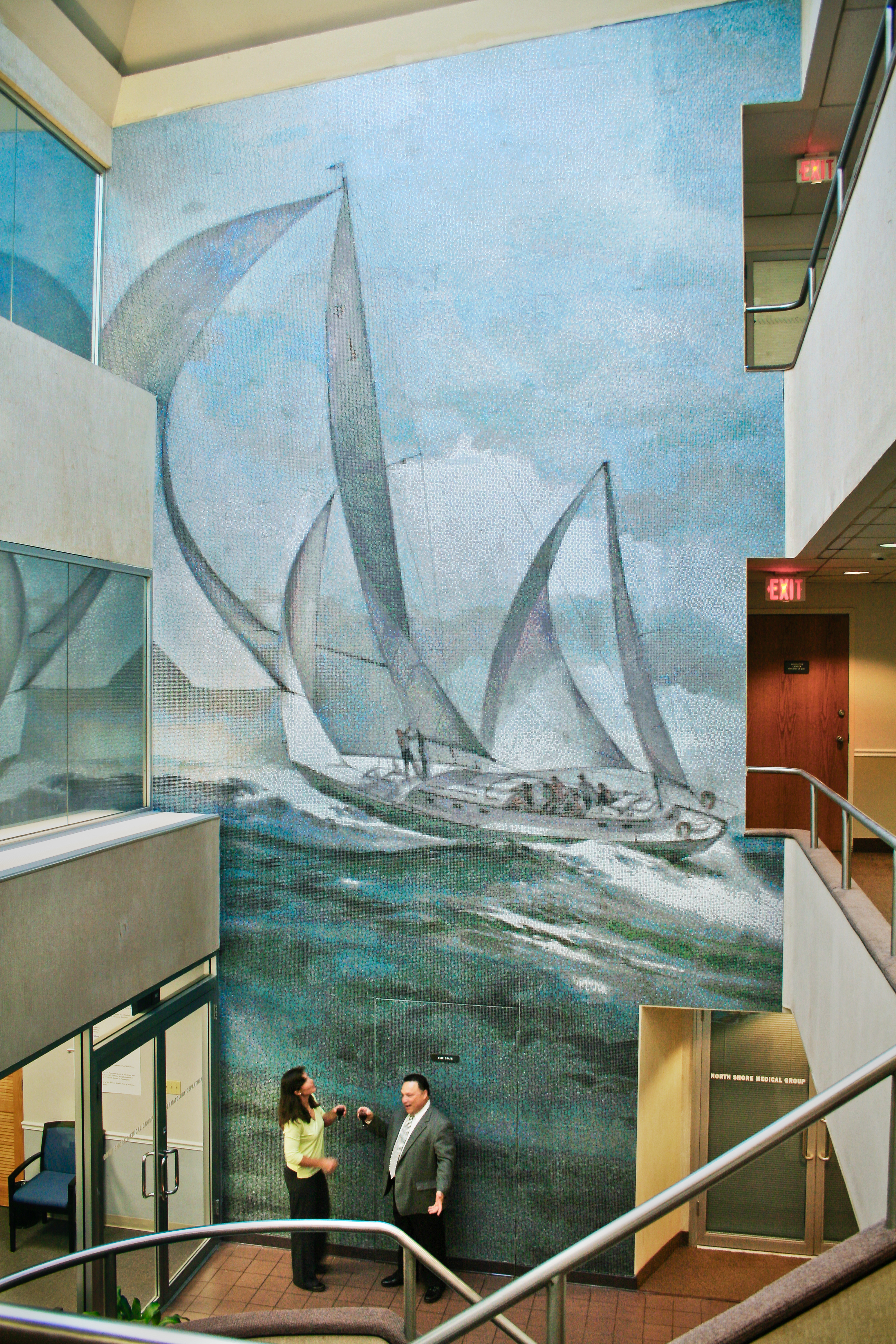 Corridor Winds Custom Sailboat Mosaic Office Atrium Mural | Artaic