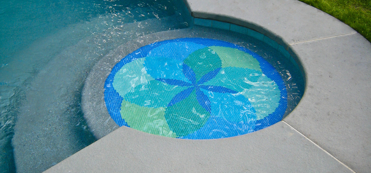 blue green lotus pool medallion