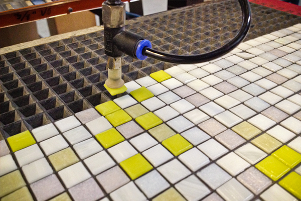 Robotic production of custom Artaic mosaic for Vertex Pharmaceuticals lobby mural