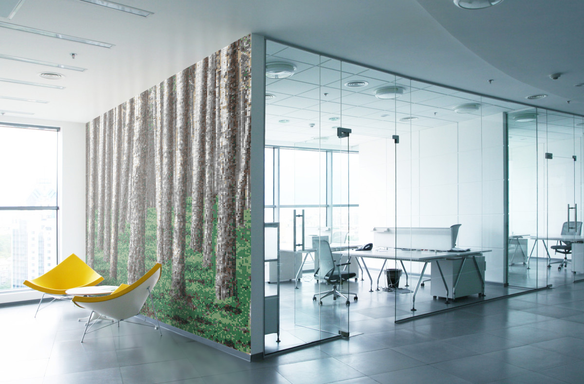 Woodspire Green Nature Tree Mosaic Design Office Wall Artaic