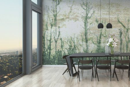 Modern dining room wall covering of tile mosaic
