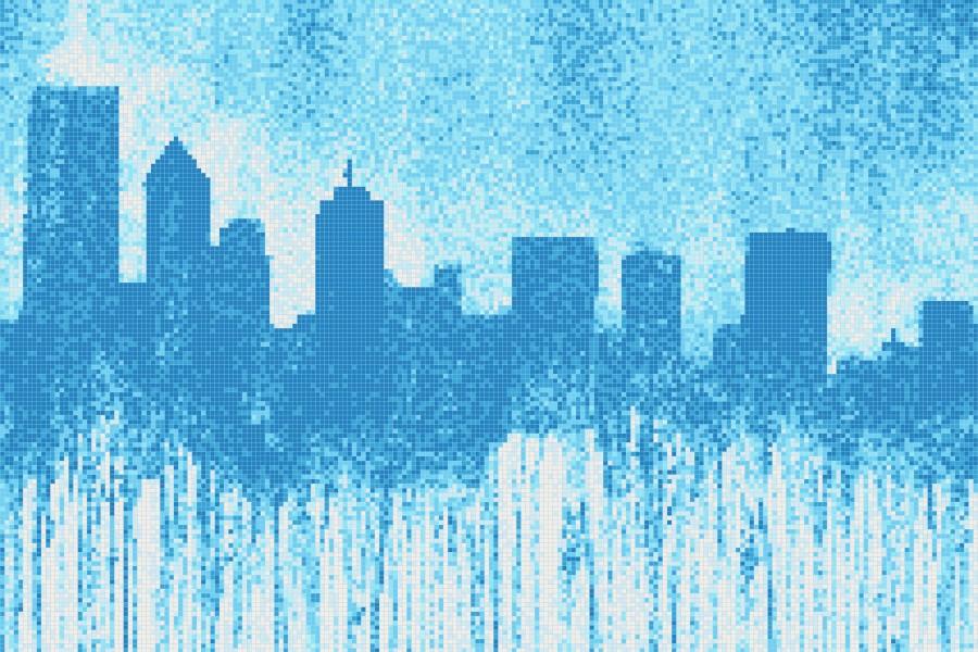 Blue cityscape  Graphic Mosaic by Artaic