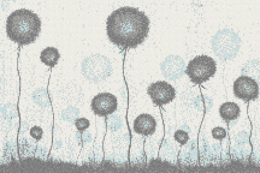 Blue fields  Floral Mosaic by Artaic