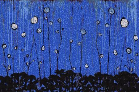 Blue nature  Floral Mosaic by Artaic