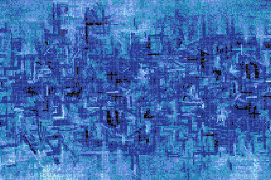 Blue Pattern Tile Coded Distress Cobalt By Artaic