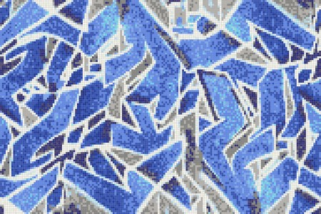 Blue street art  Graphic Mosaic by Artaic