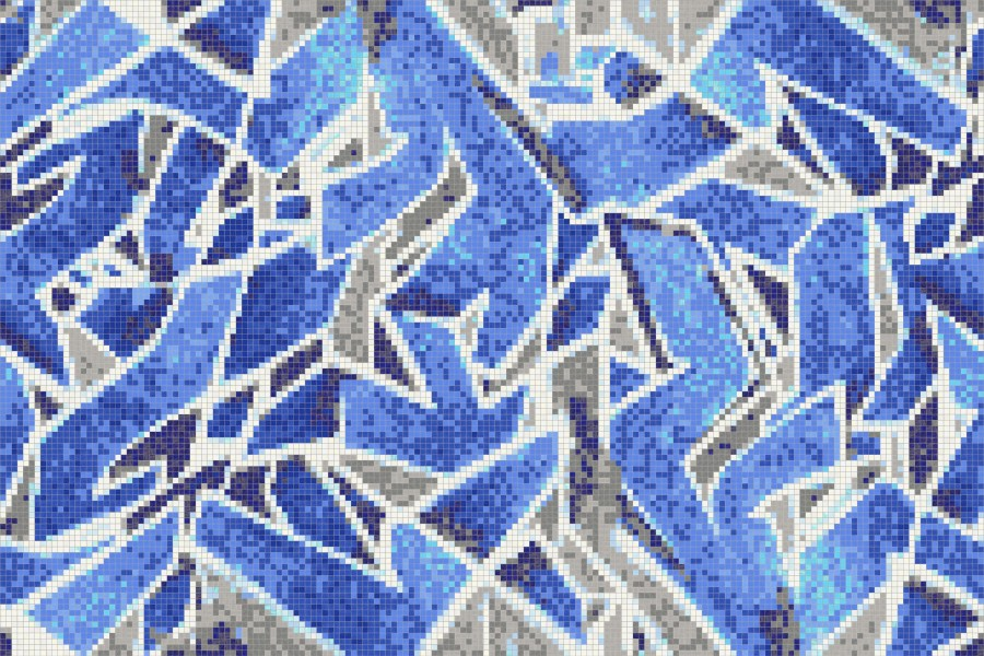 Blue Street Art Graphic Mosaic By Artaic